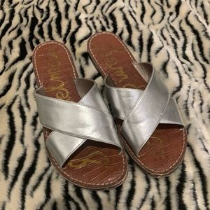 Silver Sam Edelman Slide Sandals